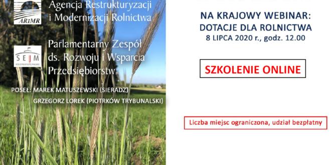 Obrazek wyróżniający - Wszystko o dotacjach dla rolnictwa – szkolenie on-line.