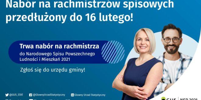 Nabór na rachmistrzów spisowych przedłużony do 16 lutego br.