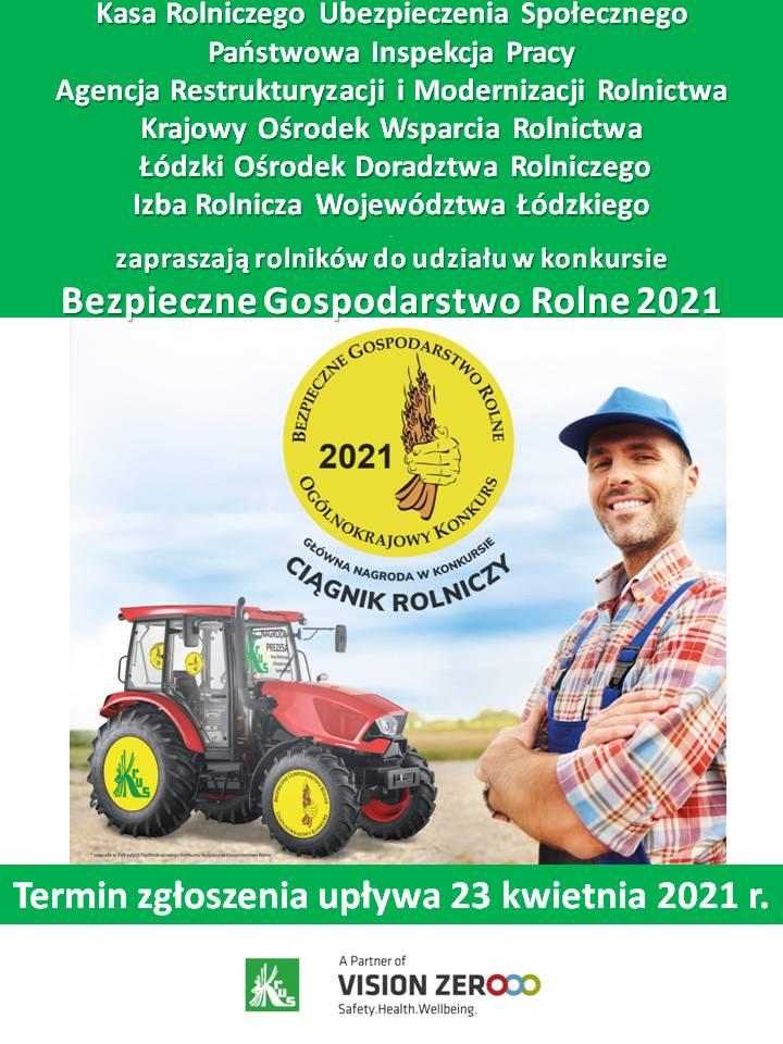 plakat - informacja KRUS o konkursie Bezpieczne Gospodarstwo Rolne 2021